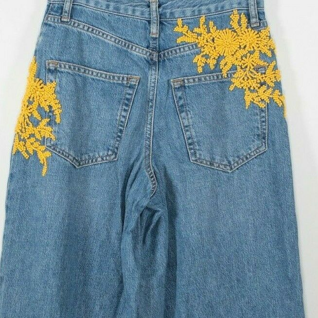 Topshop Moto Womens Size 26 Small Blue Yellow Beaded Embellished Wide Mom Jeans