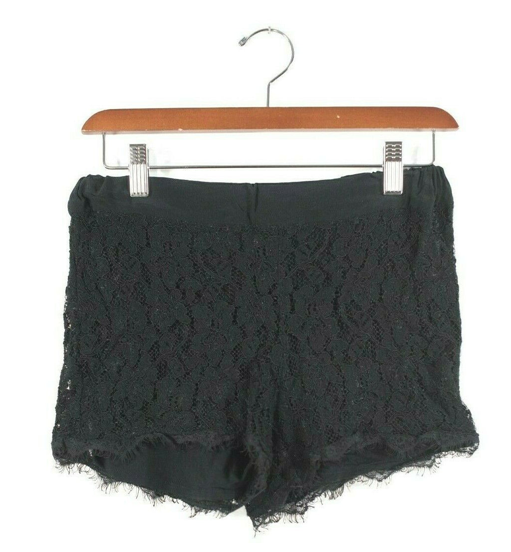 Aritzia Babaton Womens Size 0 XS Black Shorts Elastic Waist Silk Lace Mini Short