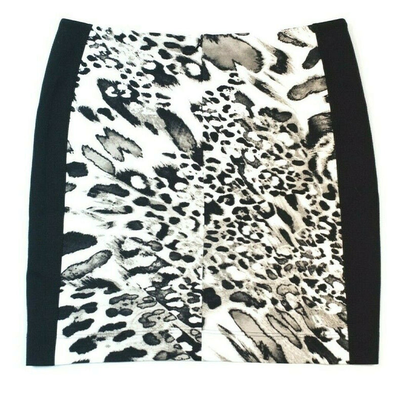 Airfield Women's Size Medium White Grey Black Skirt Business Leopard Knit Mini