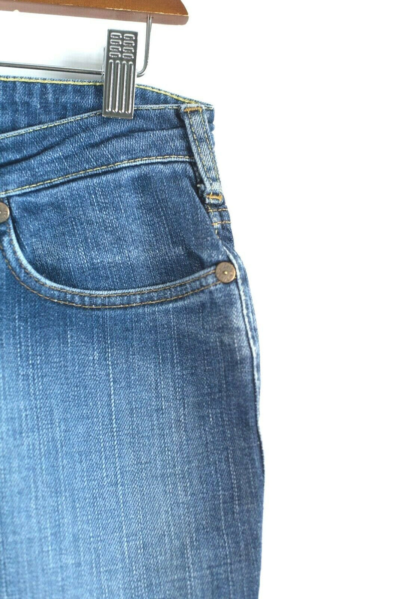 Lois Womens Size 28 Blue Jeans 70s Vintage Style Wide Hippie Bell Bottom Lupe-Ly