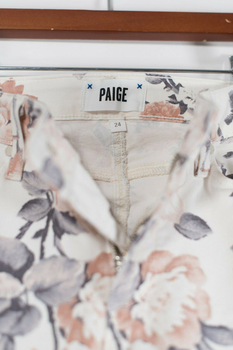 Paige Womens Size 24 XXS White Pink Gray Jeans Floral Colette High Waisted Denim