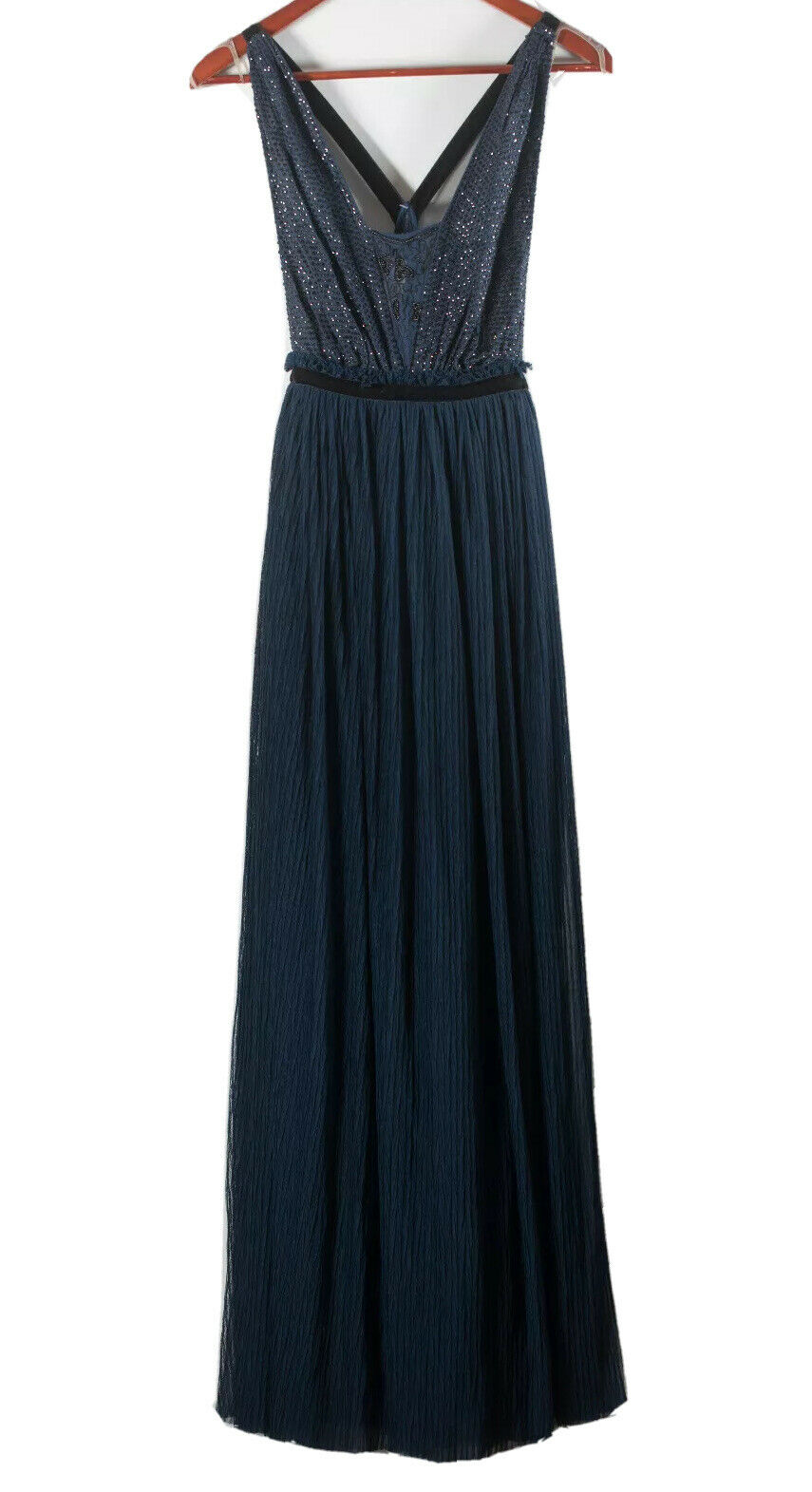 Free People Womans 0 XS Navy Blue Gown Rhinestones Sparkle Tulle Mesh Maxi Dress