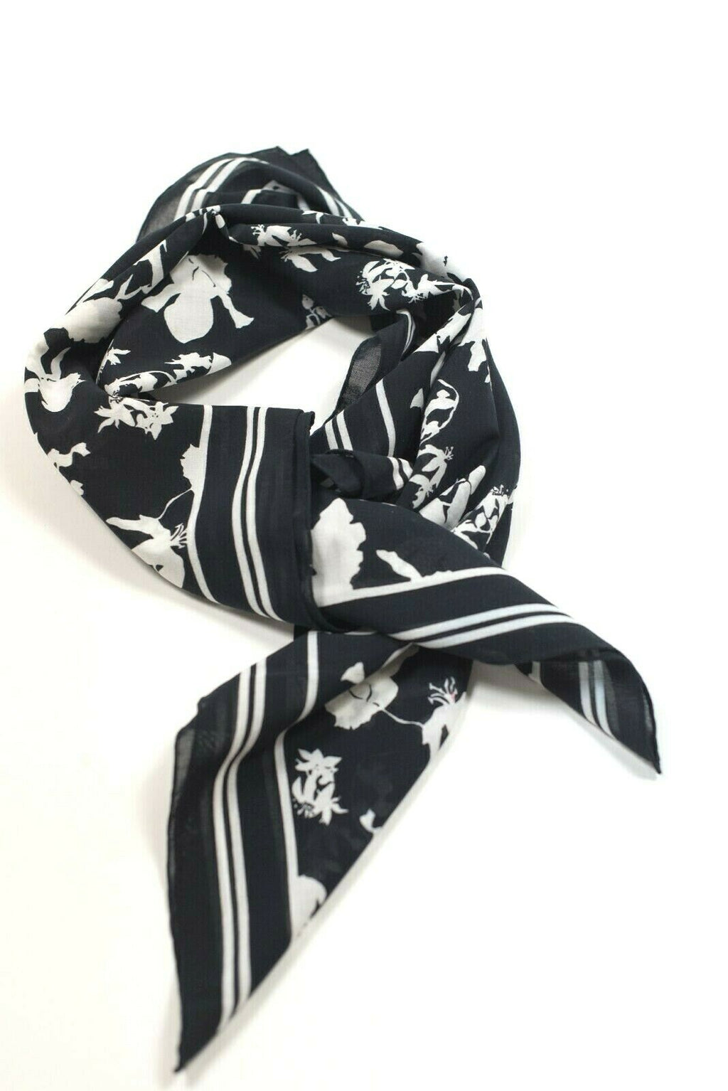 Michael Kors Collection Womens White Navy Blue Scarf Cotton Shawl Floral Printed