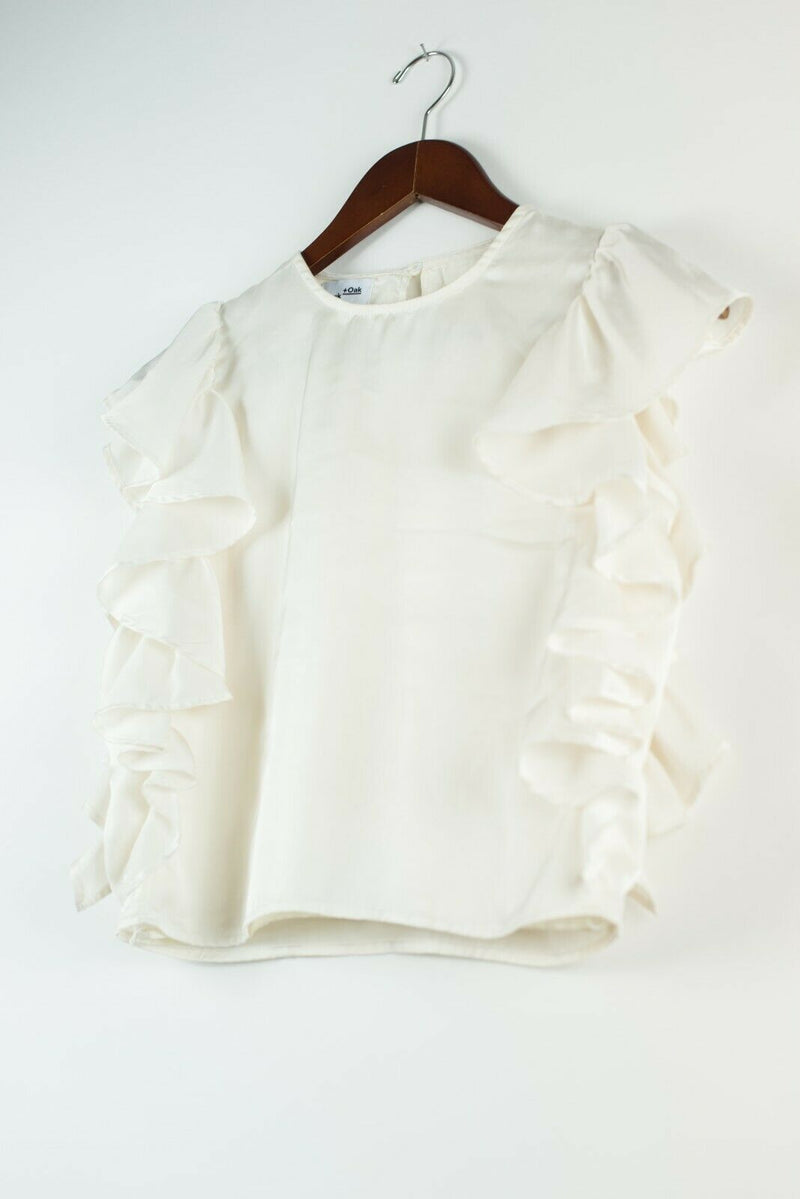 Frank and Oak Womens Size XS Ivory Shirt Beige Short Ruffle Sleeve Top Blouse