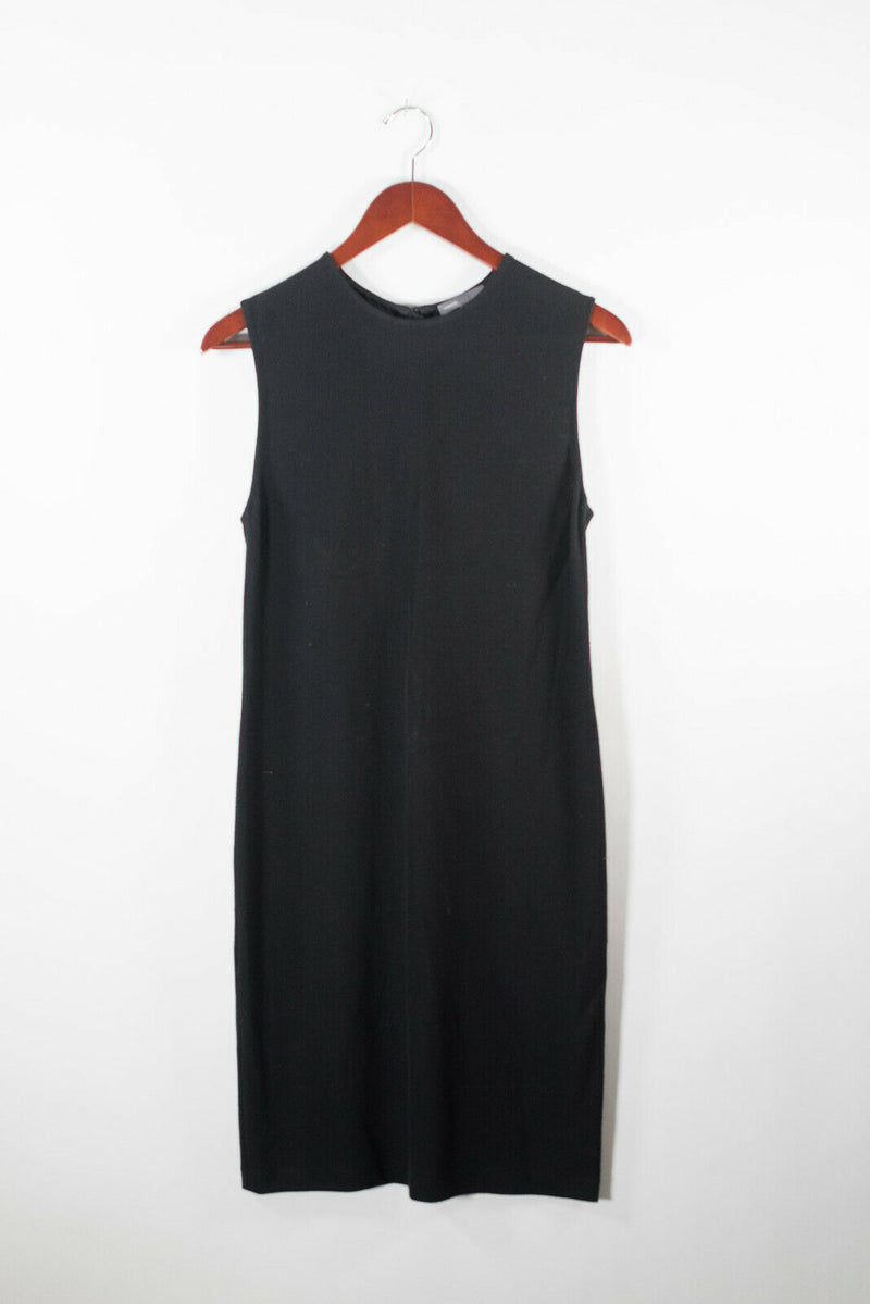 Vince Womens Medium Black Dress Cotton Jersey Sleeveless Midi Zip Back Crew Neck