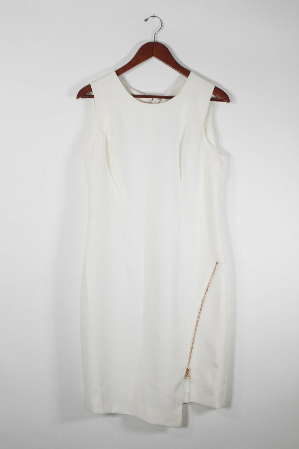 Milly Size 10 White Asymmetrical Zipper Dress NWT