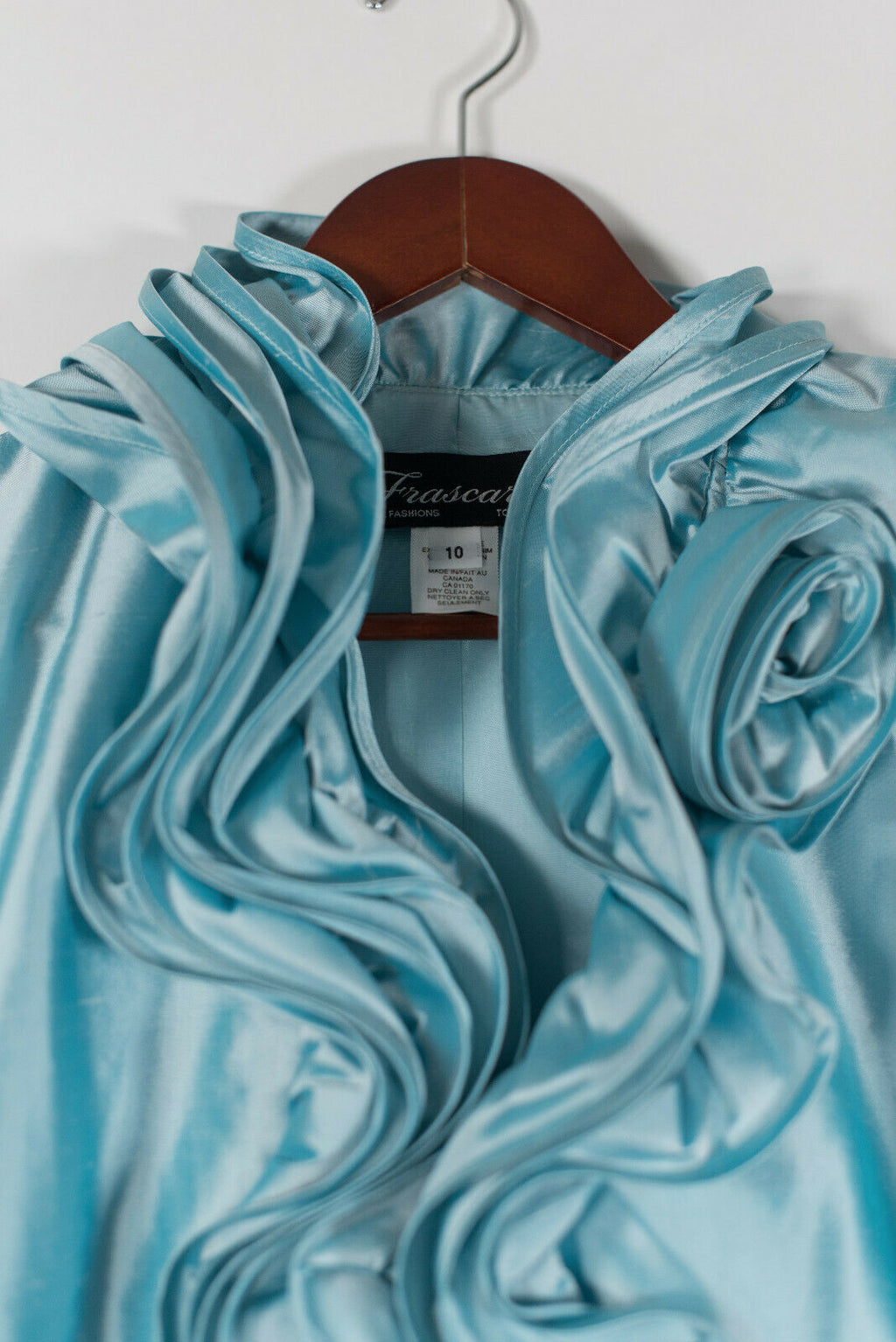 Frascara Womens Size 10 Medium Blue Jacket Ruffled Taffeta 2020 NWT MSRP $550