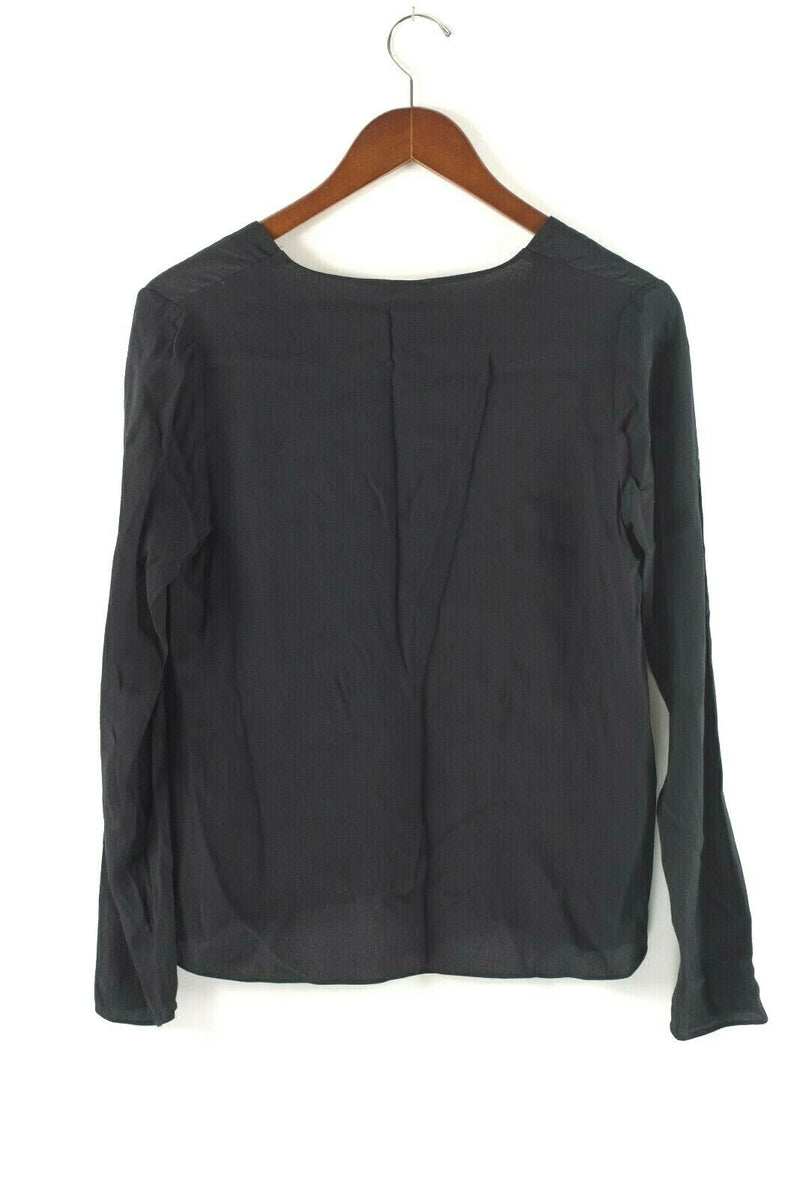 Aritzia Wilfred Free Womens Size XS Black Top Redling Black Crepe Lace Up Blouse