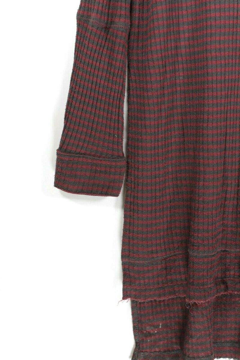 We The Free Womens Size Small Red Gray Tunic Striped Top Henley Pullover Shirt