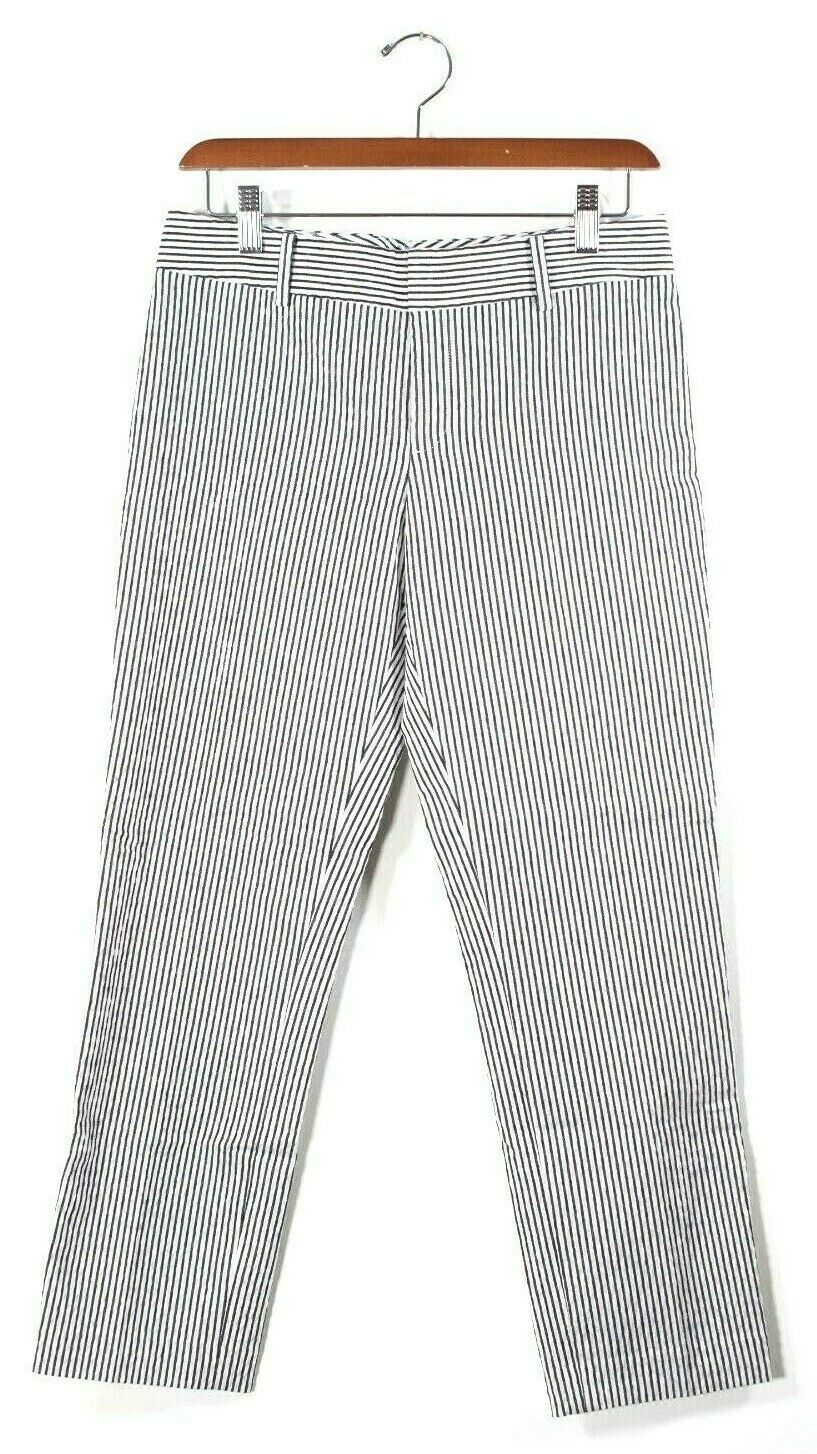 Club Monaco Womens Size 0 XS Blue White Pants Striped Cotton Blend Seersucker