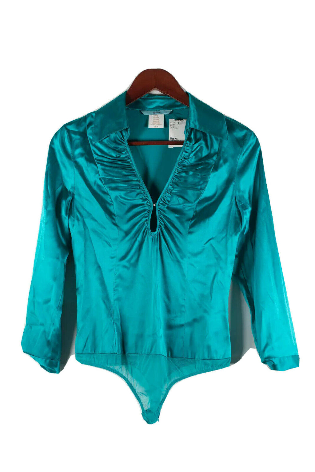 Marciano Women Size XS Teal Green Bodysuit Silk Top