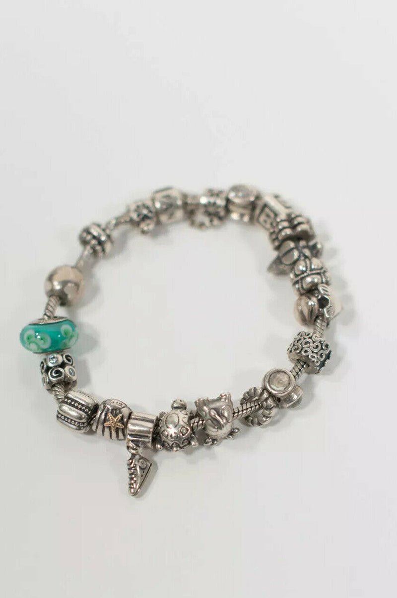 Pandora Womens Silver 925 Sterling Charm Bracelet Authentic Letter B 20 Charms