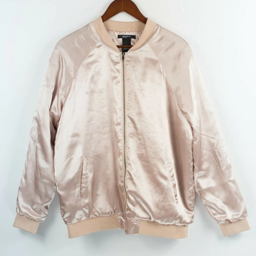 Brunette The Label Womens Medium Large Pink Bomber Quilted Satin Jacket Blonde
