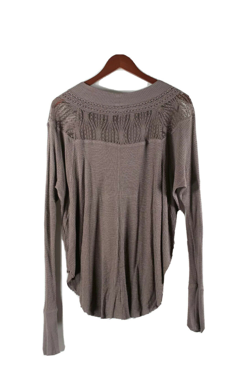 We The Free People Womens Small Brown Pullover Shirt Waffle Knit Mesh Boho Top