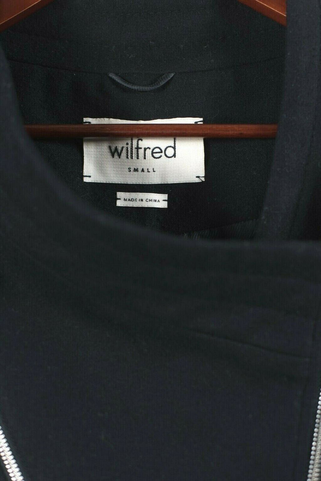 Aritzia Wilfred Womens Small Black Jacket Crop Moto Asymmetrical Full Zip Wool