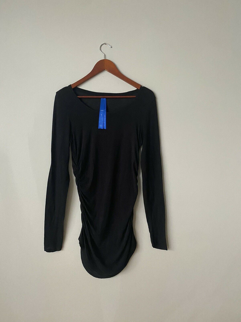 Kit and Ace Women's Size 6 Small Black Shirt Long Sleeve Ruched Side Tunic Top