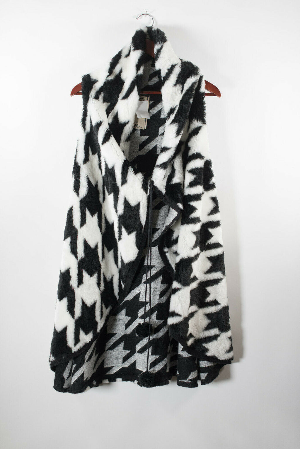 Vintage Concept Womens Medium Black White Vest Faux Fur Sleeveless Houndstooth