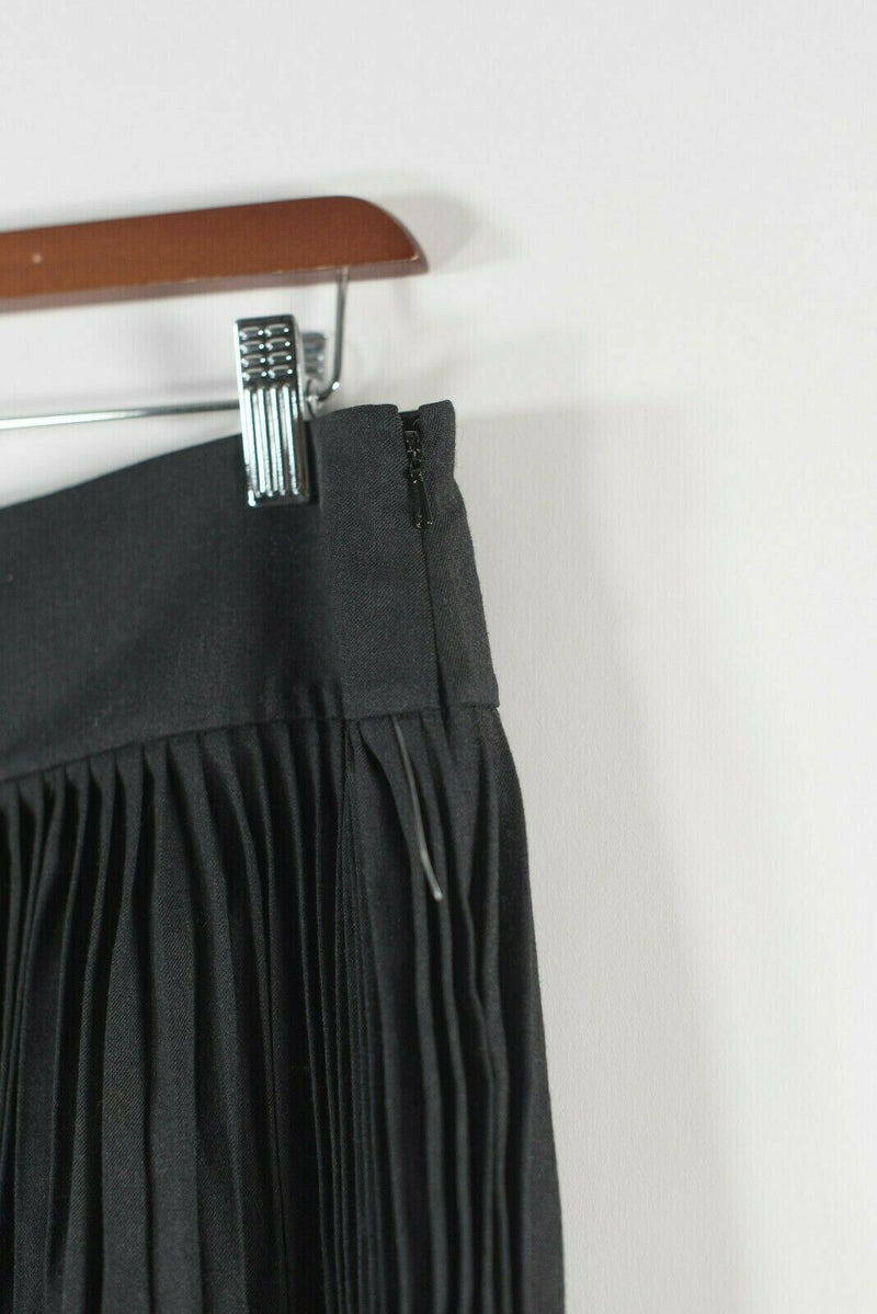 DKNY Womens Size 6 S Charcoal Grey Skirt Pleated Wool Midi Knee Length Side Zip