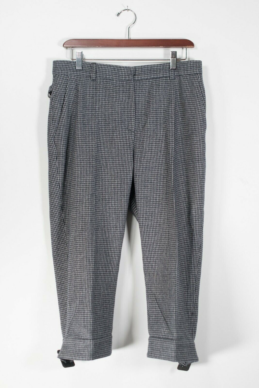MaxMara Women's Size 10 Medium Gray Trousers Houndstooth Wool Crop Capri Pants