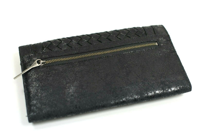 Matt and Nat Womens Black Wallet Long Woven Tri Fold Vegan Leather Shiny Clutch