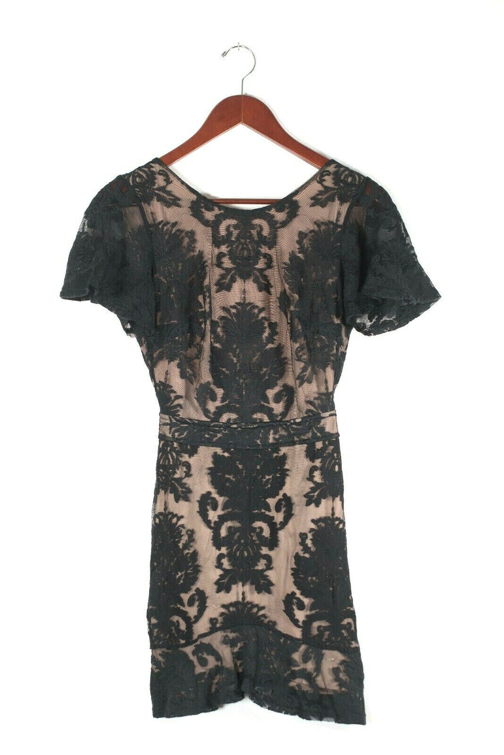 For Love And Lemons Womens XS Black Nude Dress Damask Mesh Lace Sheer Jersey