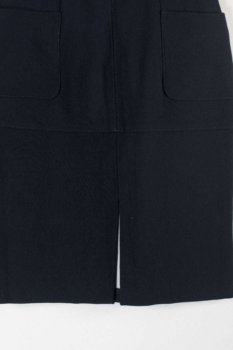 Topshop Womens Size 4 Navy Blue High Waisted Skirt With Pockets Knee Length Slit
