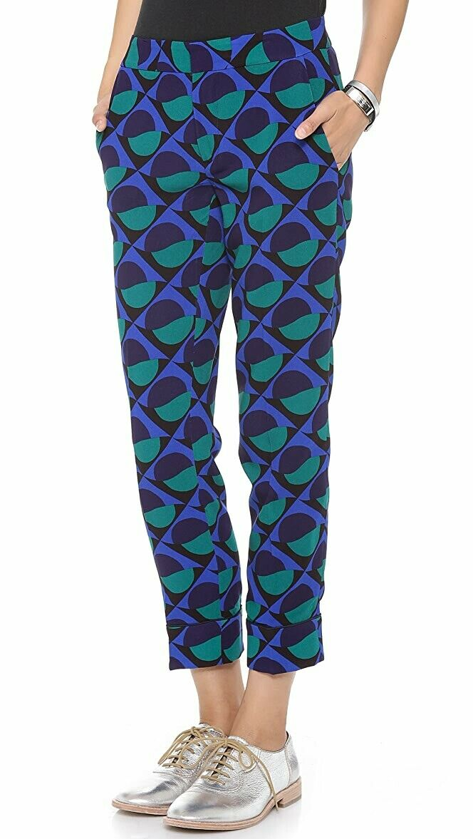Marc by Marc Jacobs Women's 0 Indigo Blue Etta Pants Printed Slim Crepe Trousers