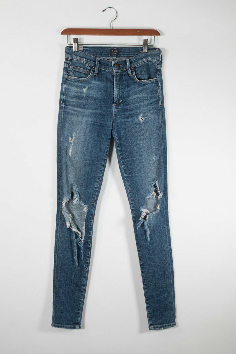 Citizens Of Humanity Womens Size 26 S Blue Skinny Jeans Distressed Hi Rise Denim