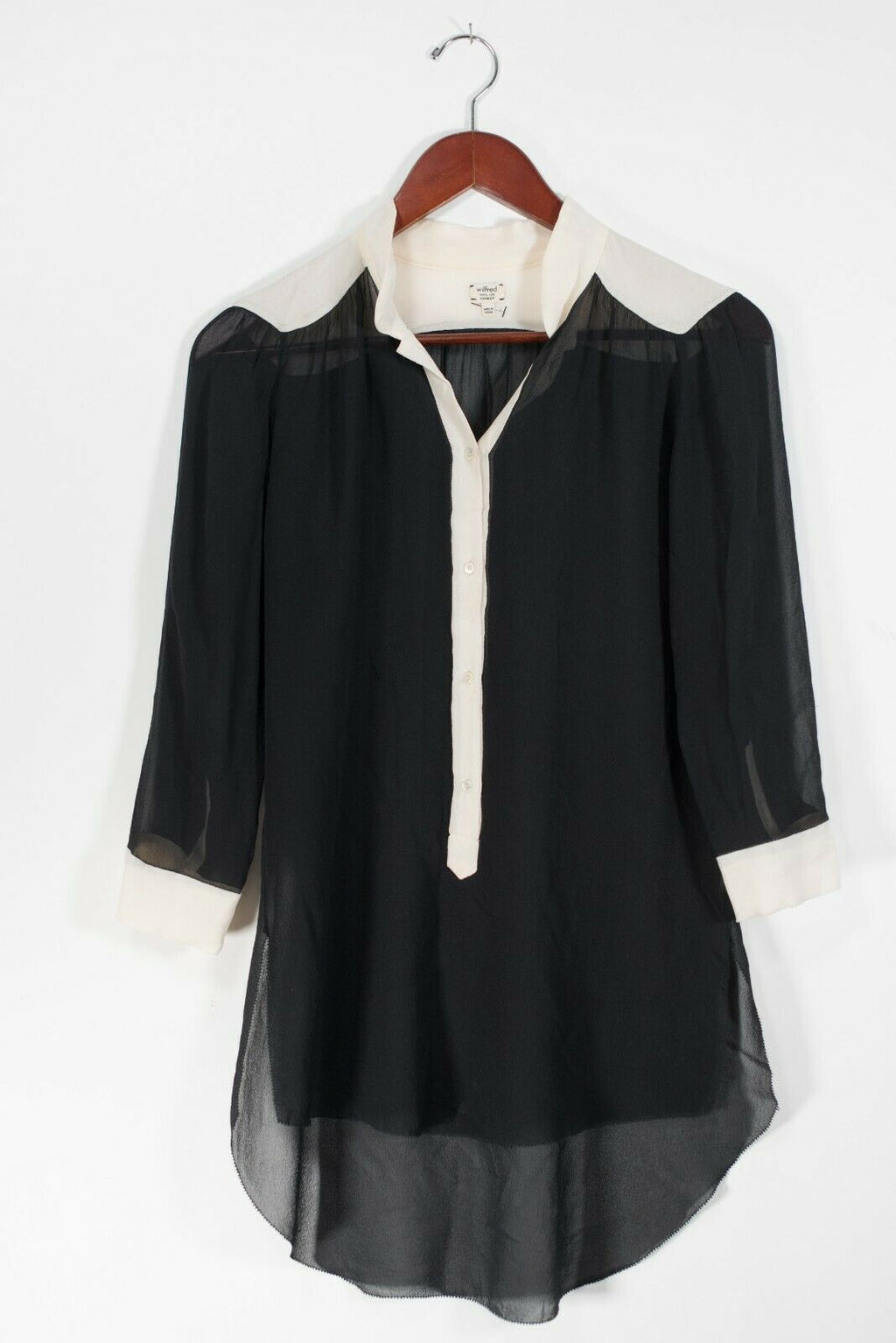Artizia Wilfred Womens XXS Black Ivory Guilia Blouse Semi Sheer V-Neck Tunic Top