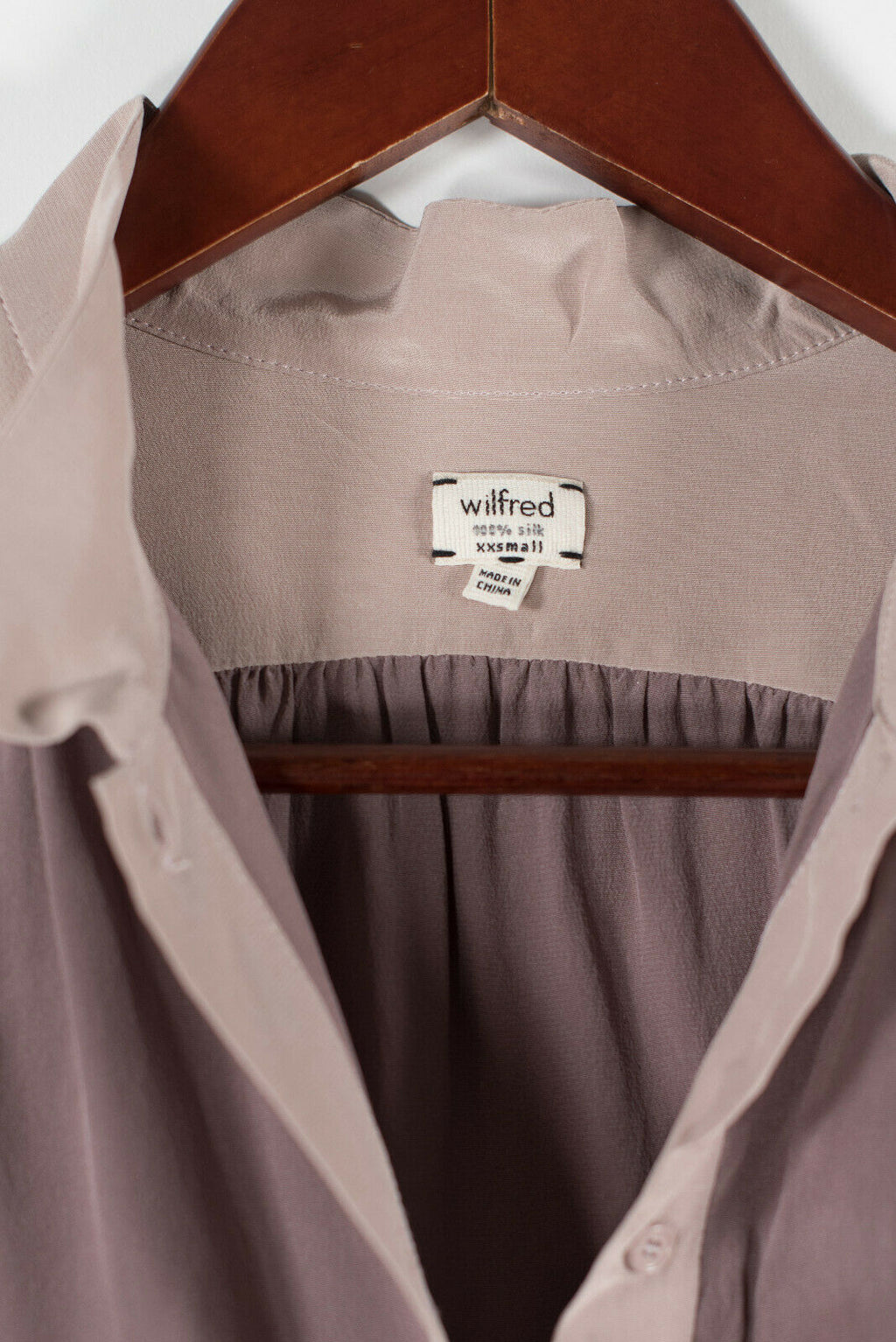 Aritzia Wilfred Womens XXS Purple Pink Shirt Silk Tunic Top 3/4 Sleeve Blouse