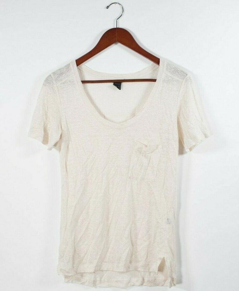 Club Monaco Womens Size XS Beige Top Short Sleeve Pocket Tee Shirt Sheer Linen