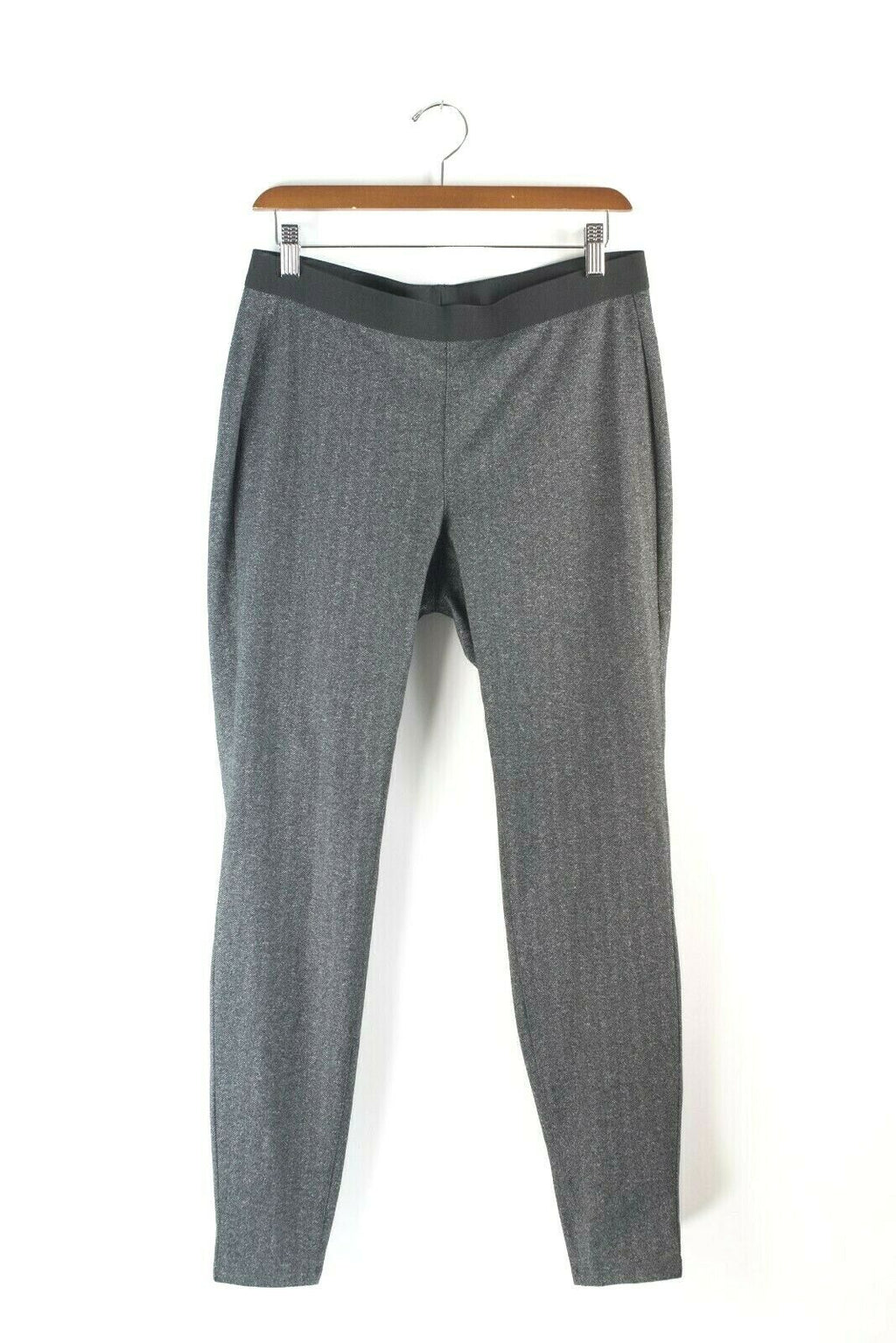 Eileen Fisher Small Grey Pants Herringbone Jersey Elastic Waist Stretch Leggings