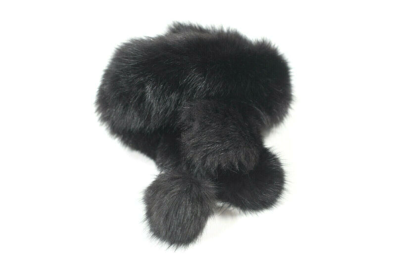Holt Renfrew Canada Womens Scarf Shawl Knit Real Fox Fur Pom Pom Long Throw Fur
