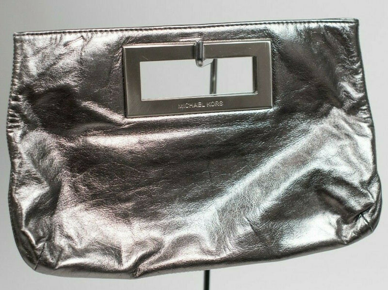 Michael Kors Silver Clutch Pebble Grain Leather Silver Metal Tote Handbag Purse