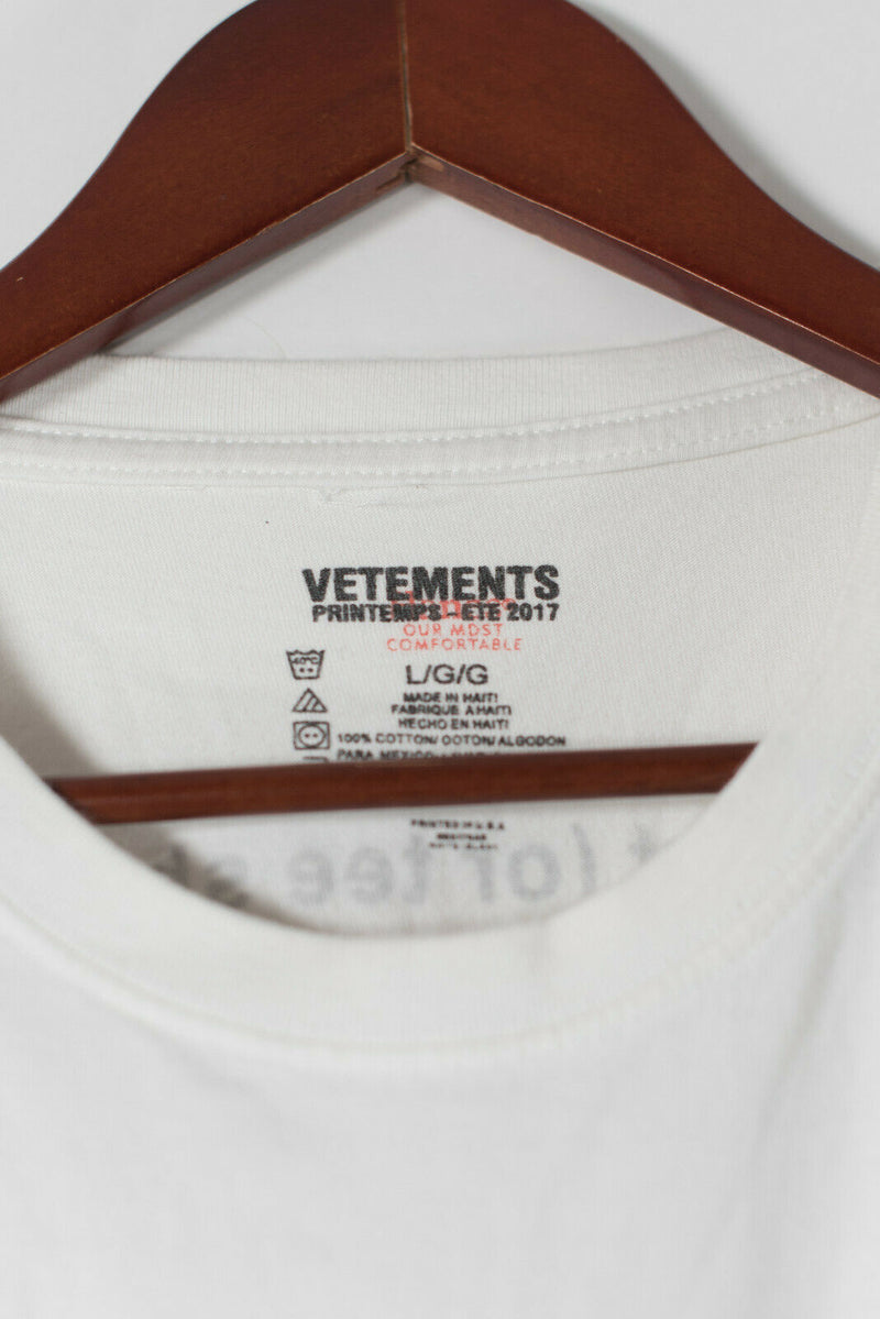 Vetements x Hanes Unisex Large White T-Shirt 100% Cotton Entry Level Definition