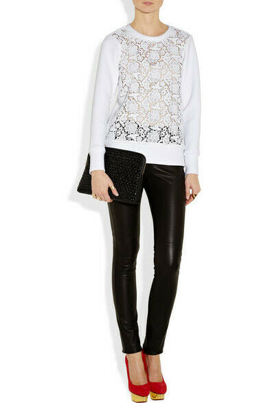 TIBI Womens White Size 4 Top Neoprene Floral Lace Front Sweatshirt