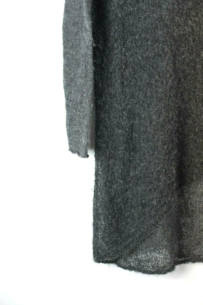 Helmut Lang Womens Small S Gray Sweater Alpaca Knit Sheer Tunic Pullover Top