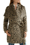 Michael Michael Kors Womans Medium Brown Coat Leopard Animal Print Faux Fur $450