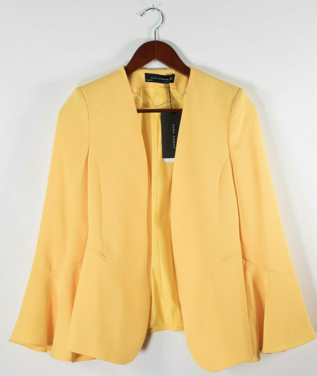 Zara Womens XS Yellow Jacket Flutter Bell Sleeve Blazer Crepe Open Jacket $145