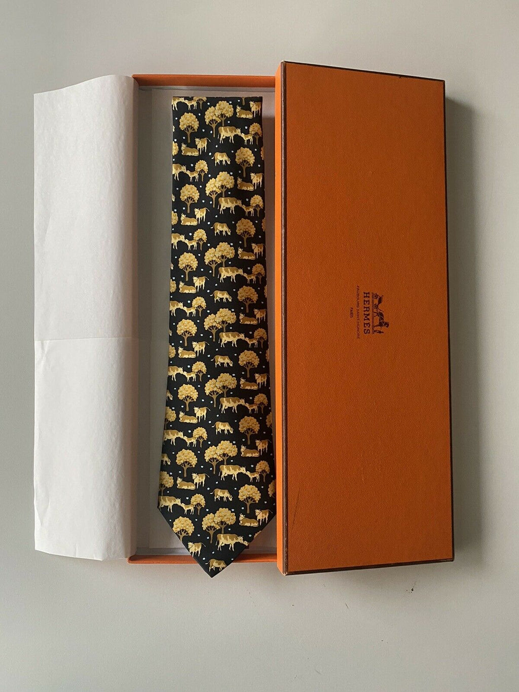 Hermes Paris Men's Black Brown Regular Size Neck Tie Cow Print Silk Graphic NEW