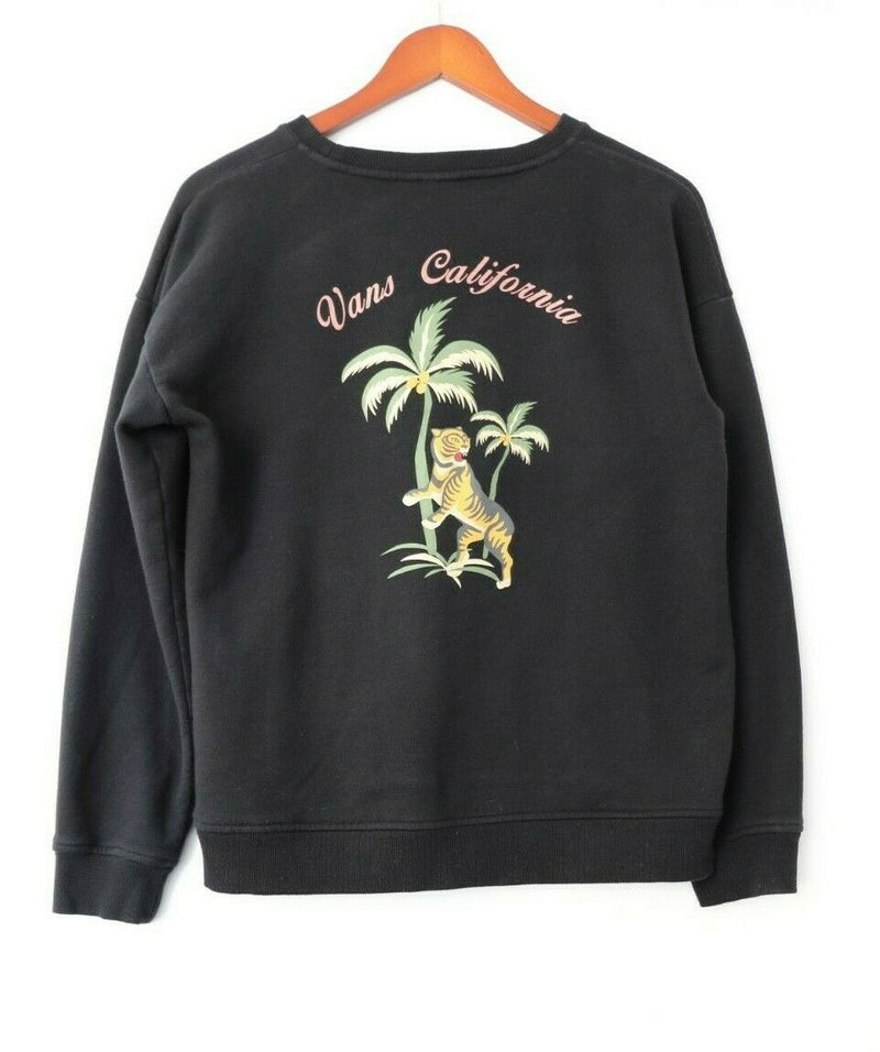 Vans Womens Medium Black Sweatshirt Long Sleeve California Palm Tree Tiger Skate