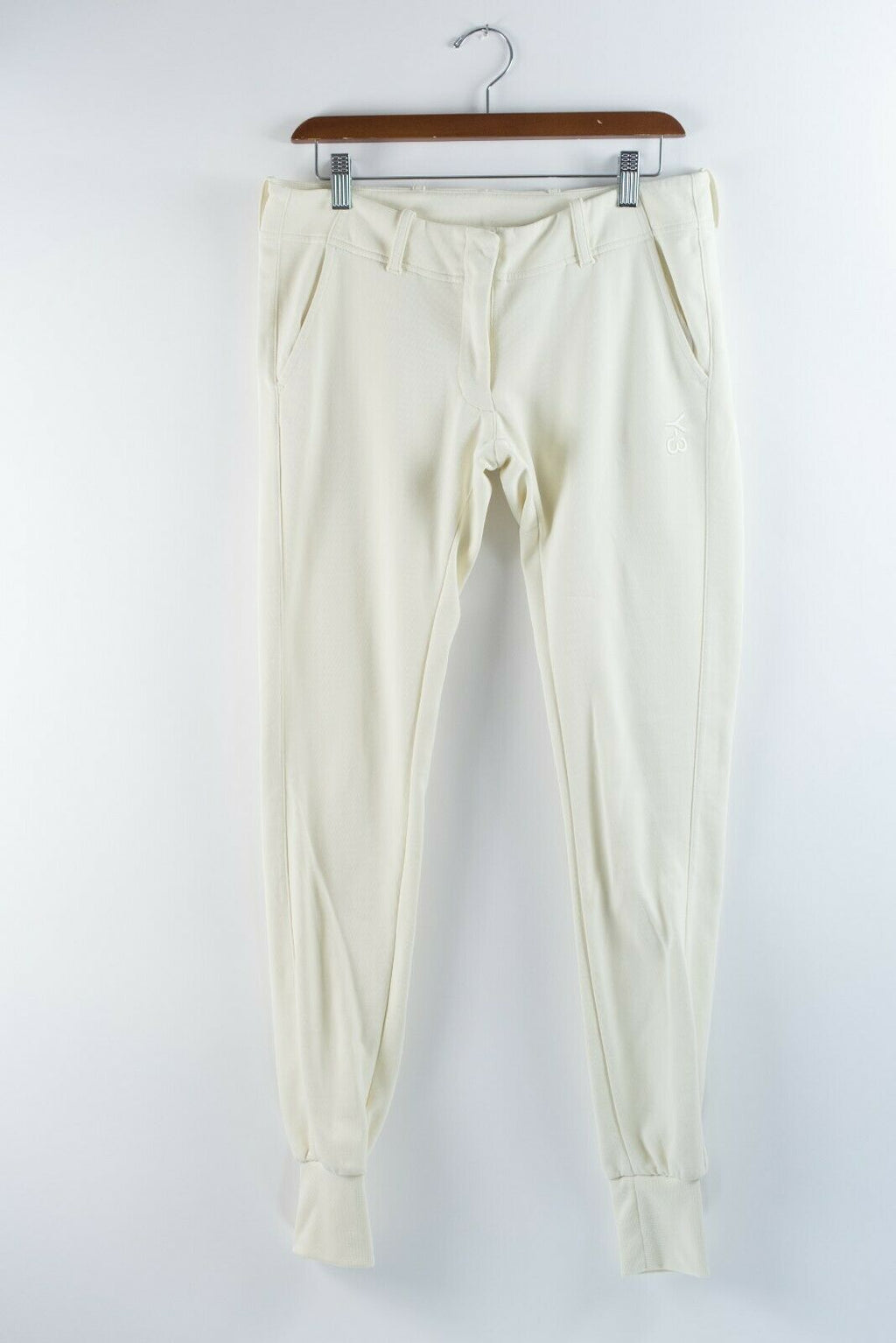Y-3 Adidas Yohji Yamamoto Womens Small Cream Cuffed Loop Sweat Pants Joggers