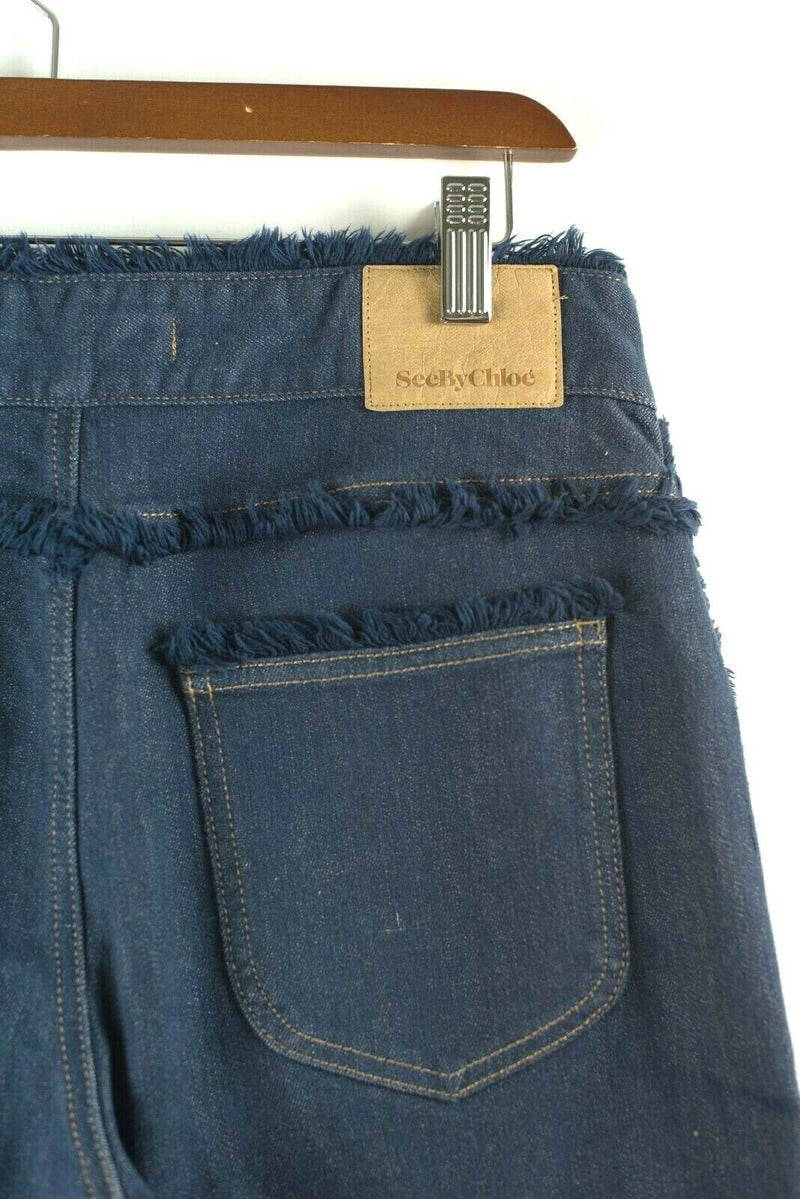 See by Chloe Womens Size 26 Blue Wide Leg Cropped Jeans Frayed Trim Culottes