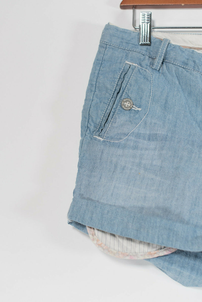 Scotch & Soda Maison Scotch Size 25 XS Light Blue Shorts Cuffed Pockets Denim