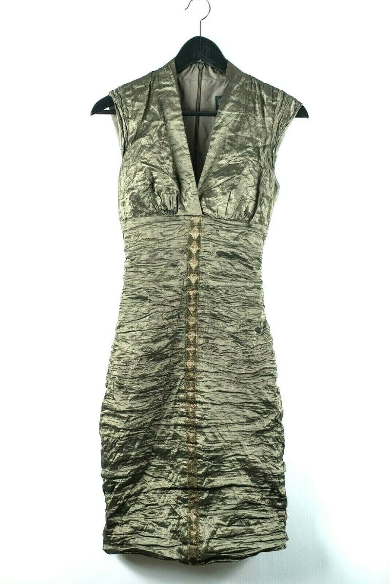 Nicole Miller Collection Womens Size 4 Small Olive Green Dress Metallic Sheen