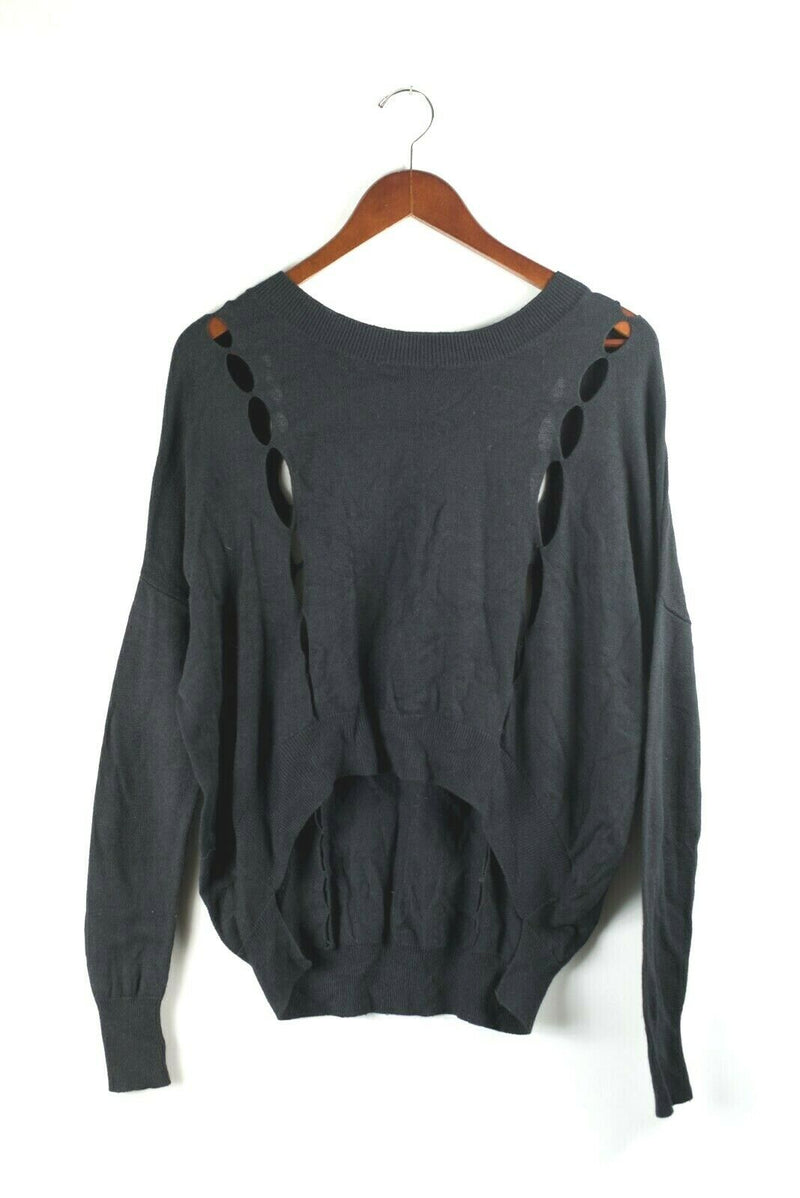 Covet Womens Small Black Sweater Slouchy Knit Open Knit Long Sleeve Pullover Top