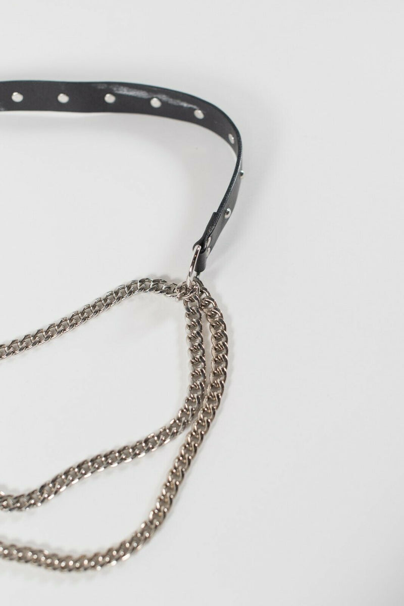 Weekend MaxMara Women's Small Black Waist Belt Leather Chain Straps Slim Skinny