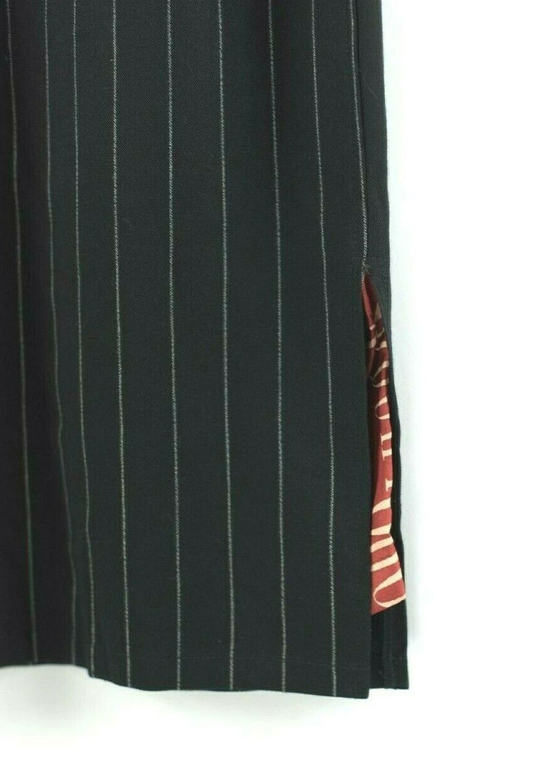 Jean Paul Gaultier Womens Small Black Skirt Vintage 90s Pinstripe Wool Pencil