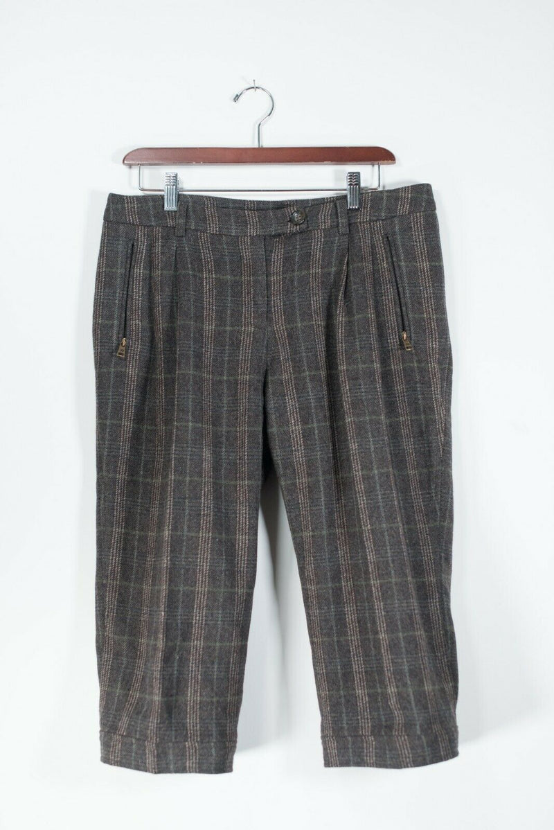 MaxMara Weekend Women's Size 10 Brown Trousers Cropped FitW4 Plaid Wool Pants