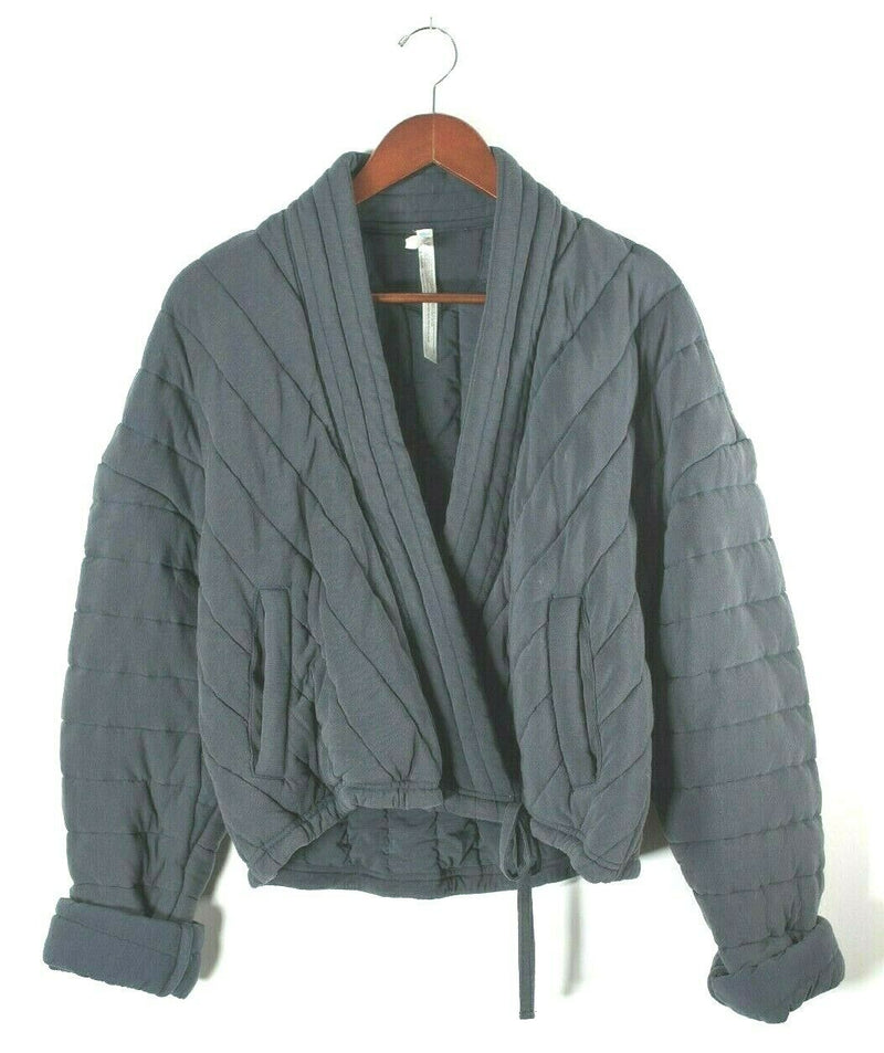 Free People Movement Womens Medium Navy Blue Jacket Quilted Wrap Soft Scoop Neck